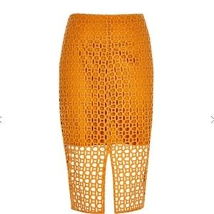 7fd276424a River Island Skirts   Grey Wise Check Bow Pencil Skirt   Poshmark